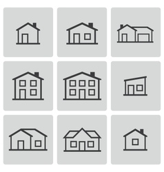 black houses icons set vector image vector image