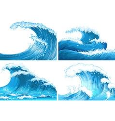 Four scenes of ocean waves vector image vector image