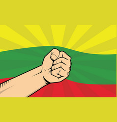lithuania fight protest symbol with strong hand vector image