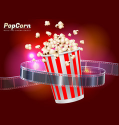 popcorn movie cinema object vector image vector image