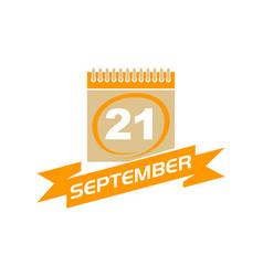 21 september calendar with ribbon vector image