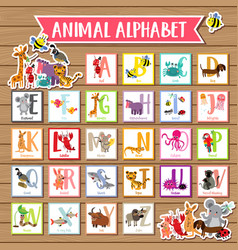A to z animal alphabet wood background vector