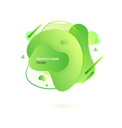 abstract liquid design green supstance and drops vector image