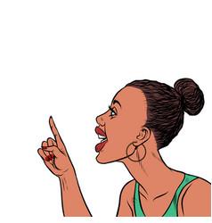 African woman threatens finger vector