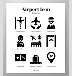Airport icons solid pack vector