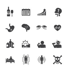 Alcoholism icons set flat design vector