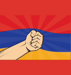 Armenia fight protest symbol with strong hand and vector