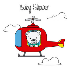 bear in helicopter vector image