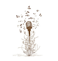 Beautiful doodle art microphone vector