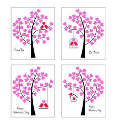 birds and trees valentine graphics vector image