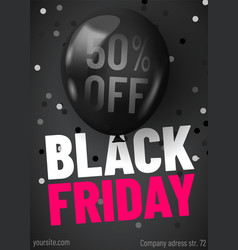 black friday sale web banner template dark vector image