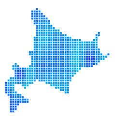 Blue dot hokkaido island map vector