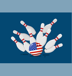 bowling ball with united state flag breaks vector image