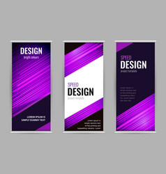 Bright roll-up banner with purple lines on dark vector