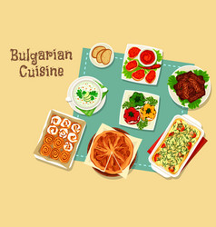 bulgarian cuisine icon design with national food vector image