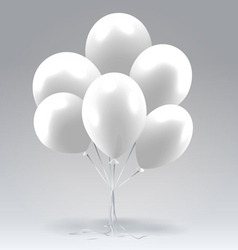 Bunch of white glossy inflatable balloons vector image