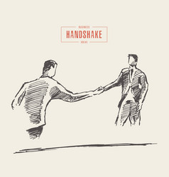 business meeting success men handshake draw vector image