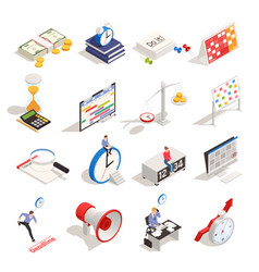 business planning isometric icons vector image