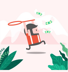 businessman trying to catch money fly vector image