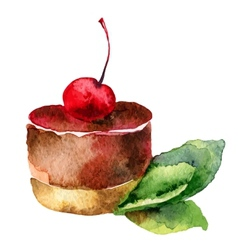 Cake with cherry vector image vector image