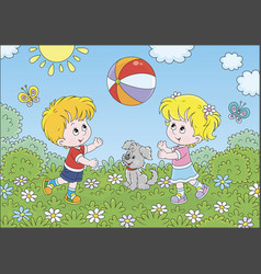 children playing a colorful ball on a playground vector image