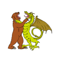Chinese dragon fighting grizzly bear drawing color vector