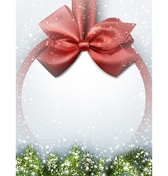 Christmas background with bow and snow vector