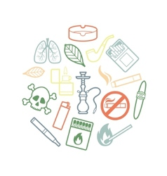 Circle set of inline smoking icons vector image