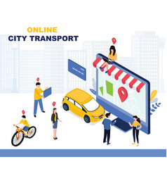 City transportation online service landing page vector