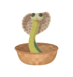 Cobra snake coming out of a basket icon vector image