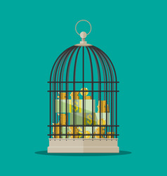 coins and dollar bills stacks in cage vector image
