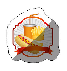 Color emblem with hot dog fries french and soda vector
