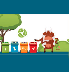 cow sorting trash garbage recycling campaign vector image