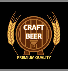 craft beer on barrel vector image