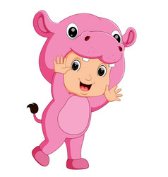 cute boy cartoon wearing hippopotamus costume vector image