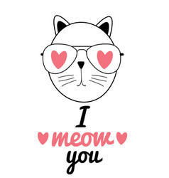 cute hand drawn cat i love vector image