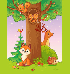 Cute with animals vector