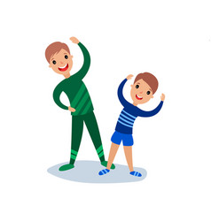 dad and son doing morning exercises sport family vector image
