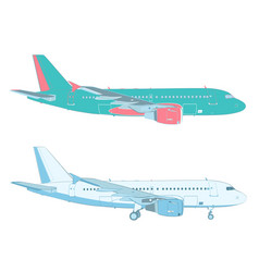 Drawing of an airliner on white background vector