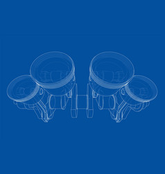 Engine crankshaft with pistons outline vector