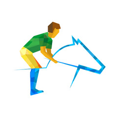 equestrian sport with green and yellow patterns vector image
