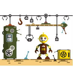 Factory interior robot with machines vector