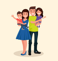 father mother son and daughter vector image