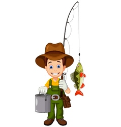 funny cartoon Fisherman and fish vector image