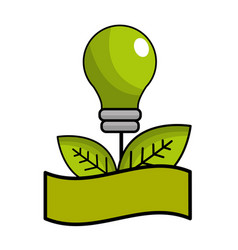 green bulb with leaves and ribbon vector image