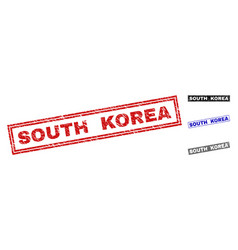 Grunge south korea scratched rectangle watermarks vector