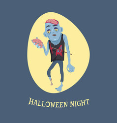 Halloween night and zombie vector