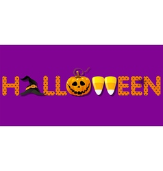 Halloween word with hat and pumpkin and candy vector