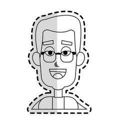 Happy man with glasses cartoon icon image vector