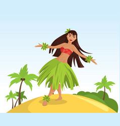 Hawaiian hula dancer young pretty woman vector